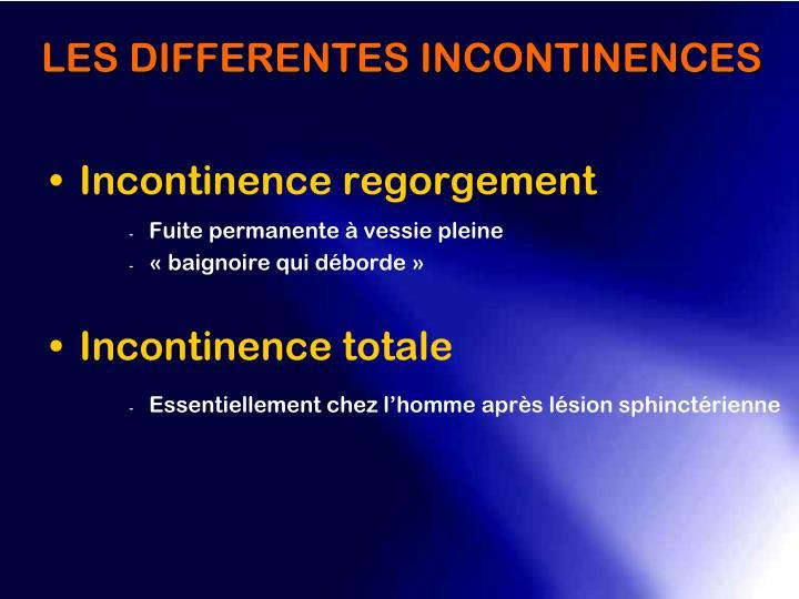 Incontinence regorgement