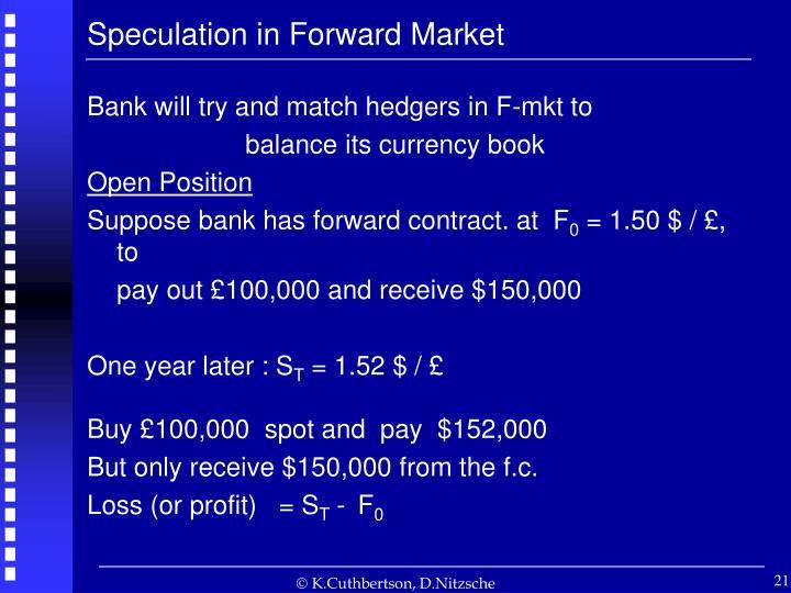 Speculation in Forward Market