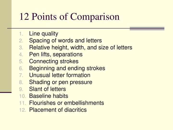 12 Points of Comparison