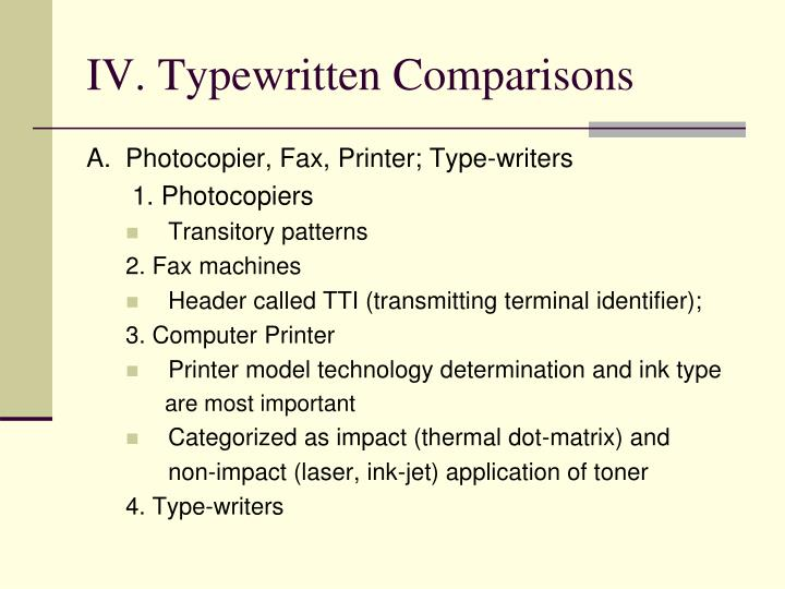 IV. Typewritten Comparisons
