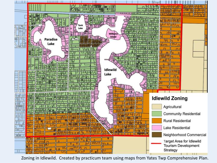 Zoning in Idlewild.  Created by practicum team using maps from Yates