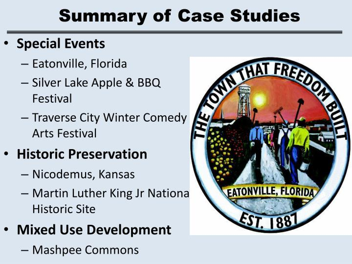 Summary of Case Studies