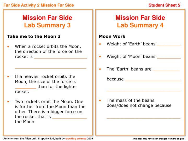 Far Side Activity 2 Mission Far Side