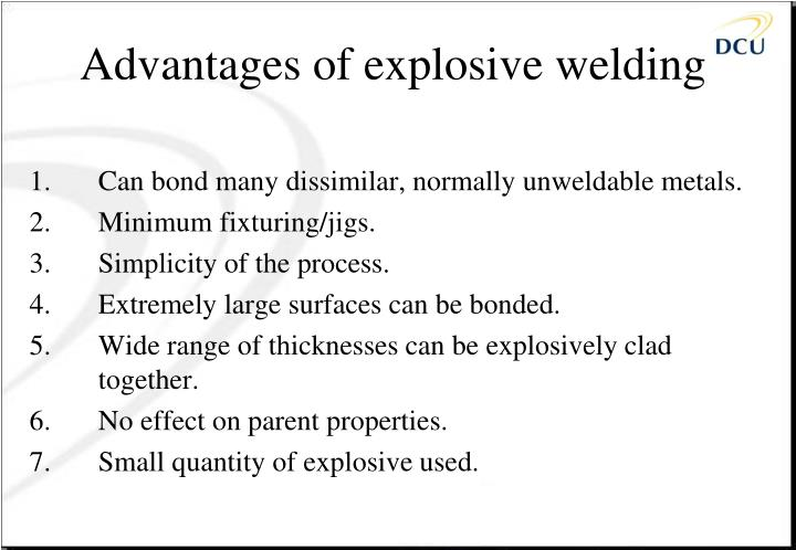 Advantages of explosive welding