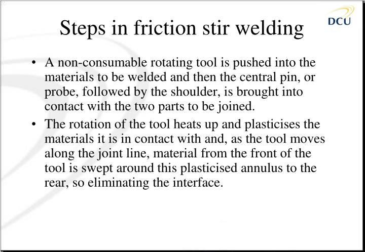Steps in friction stir welding