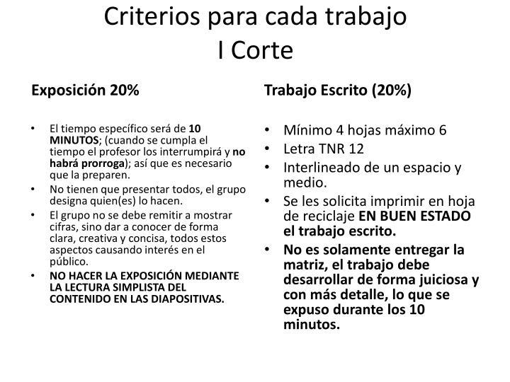 Criterios para cada trabajo