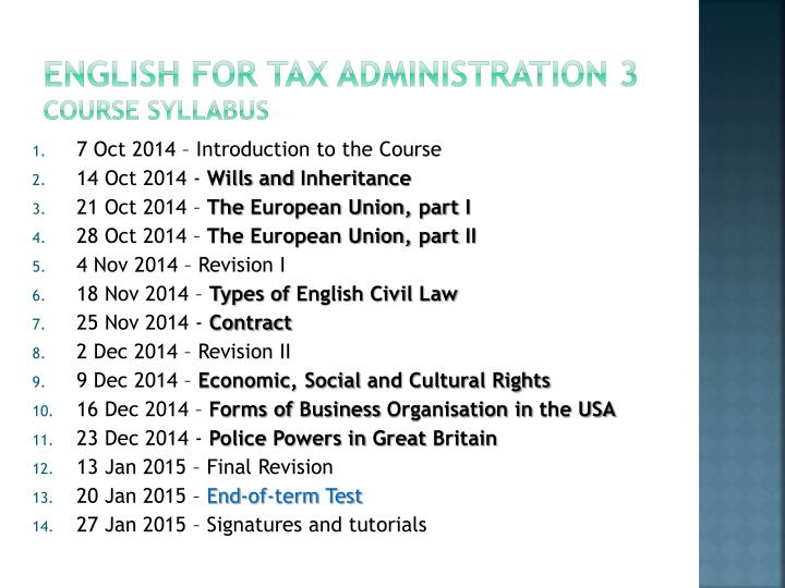 English for tax administration 3 course syllabus