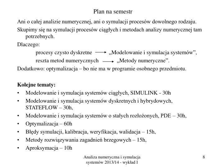 Plan na semestr