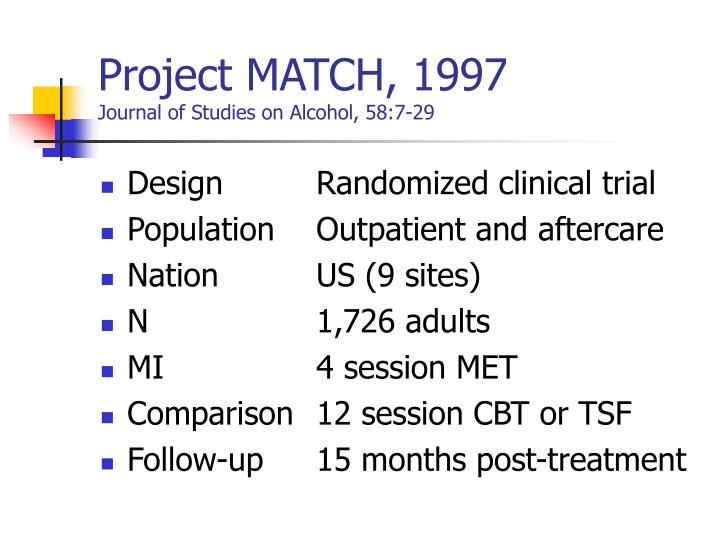 Project MATCH, 1997