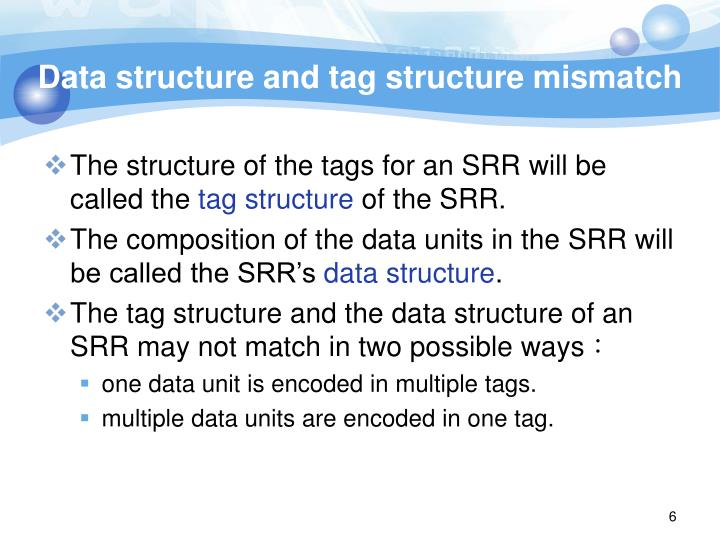 Data structure and tag structure mismatch