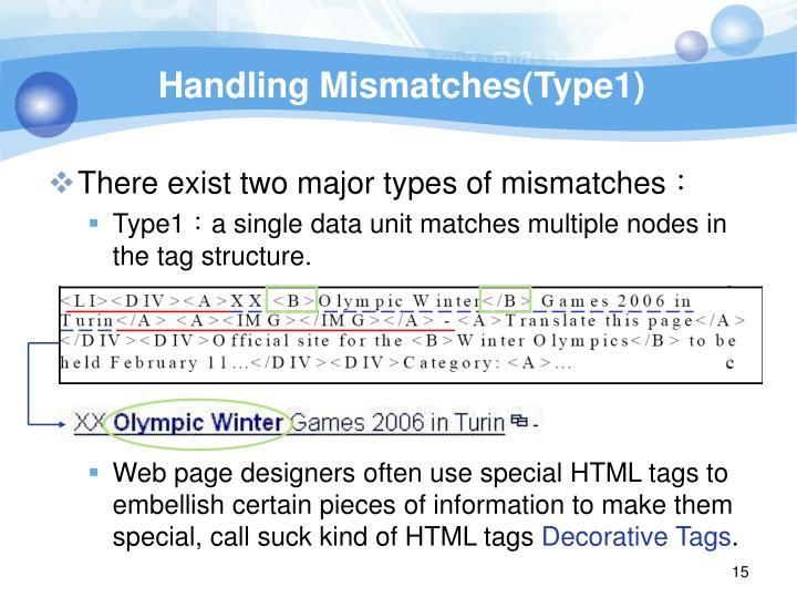 Handling Mismatches(Type1)