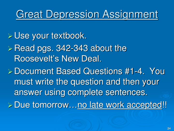 Great Depression Assignment