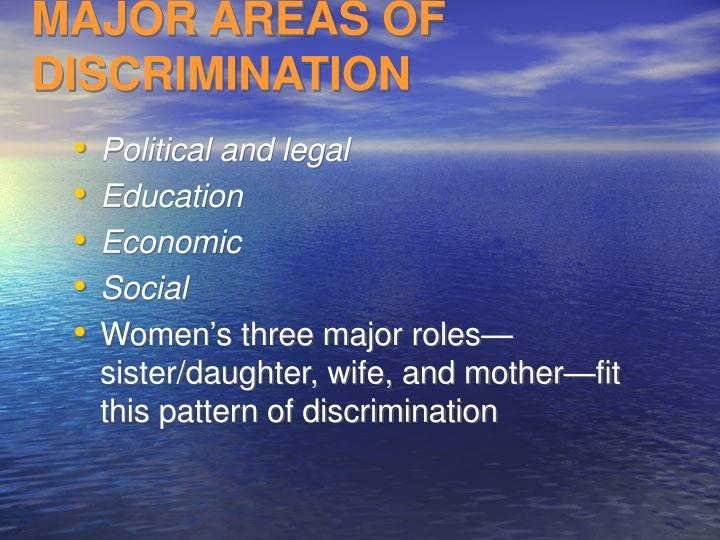 MAJOR AREAS OF DISCRIMINATION