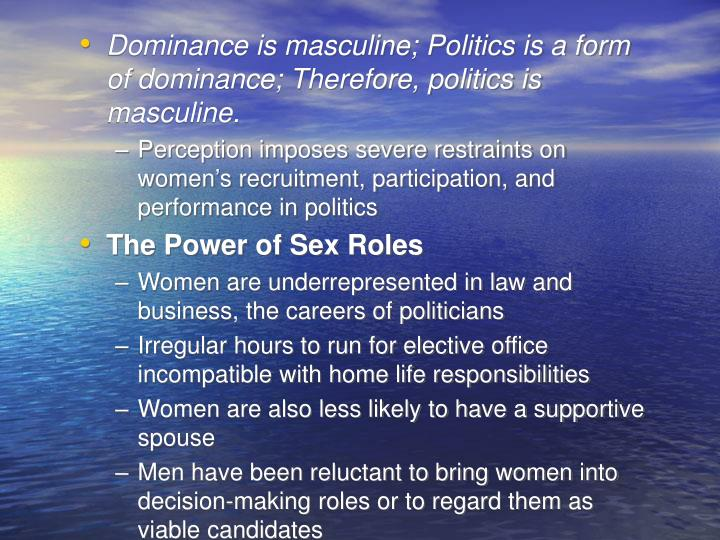 Dominance is masculine; Politics is a form of dominance; Therefore, politics is masculine.