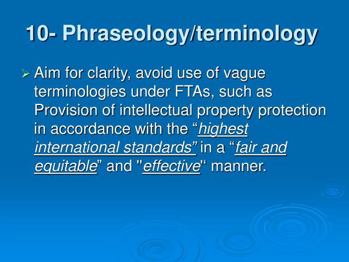 10- Phraseology/terminology