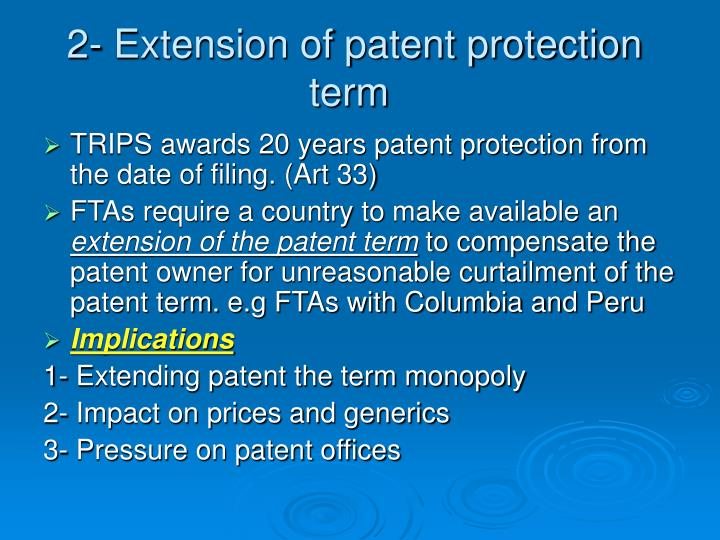 2- Extension of patent protection term