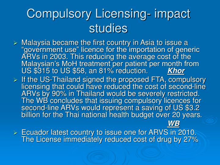 Compulsory Licensing- impact studies