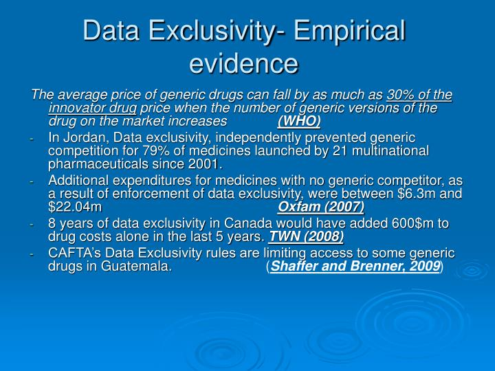Data Exclusivity- Empirical evidence