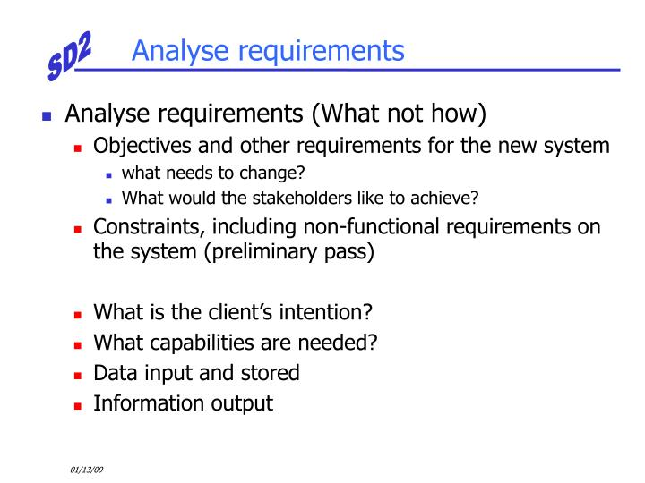 Analyse requirements
