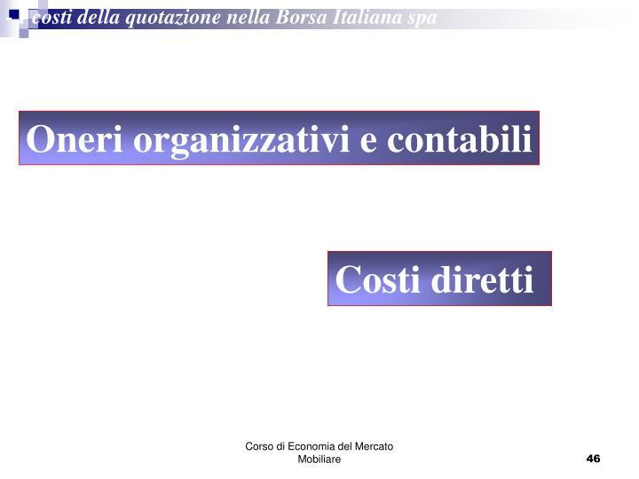 - I costi della quotazione nella Borsa Italiana spa
