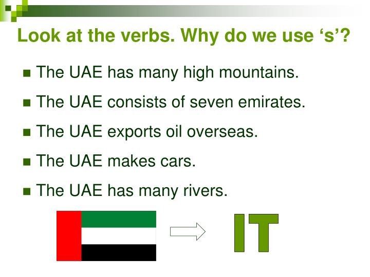 Look at the verbs. Why do we use 's'?