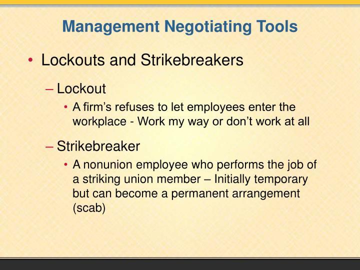 Management Negotiating Tools