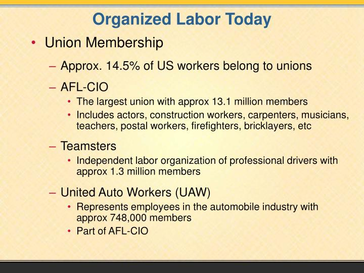 Organized Labor Today