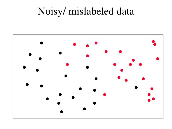 Noisy/ mislabeled data