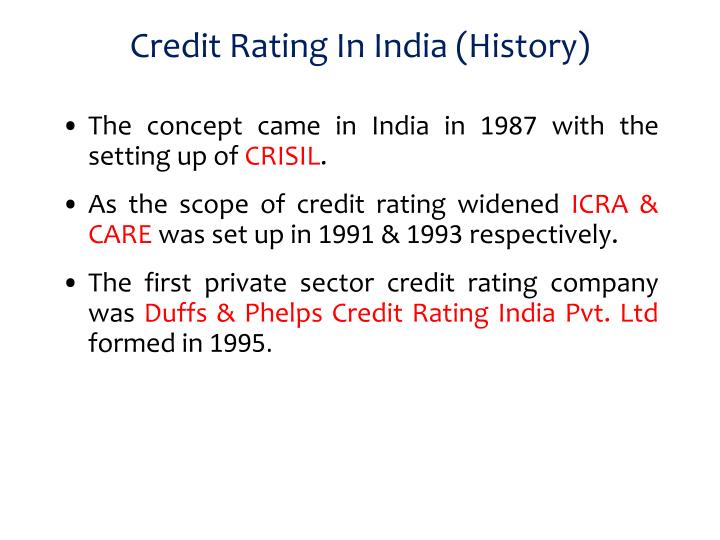 Credit rating in india history