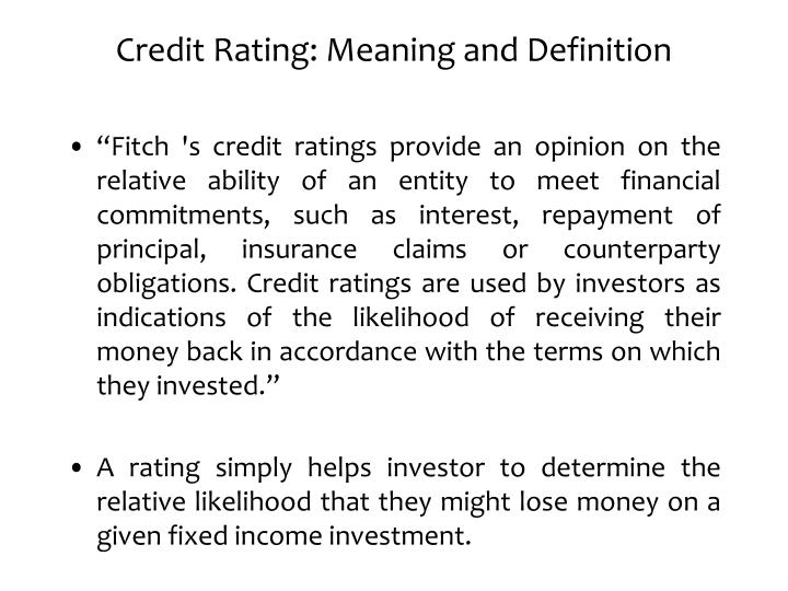 Credit Rating: Meaning and Definition