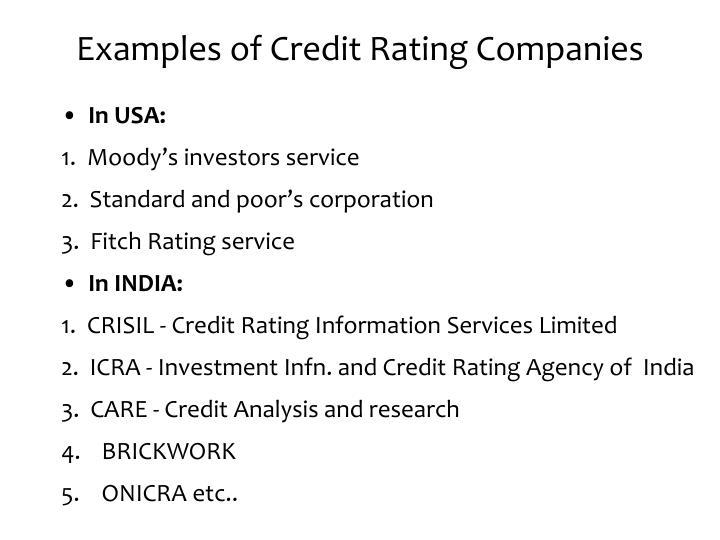 Examples of Credit Rating Companies