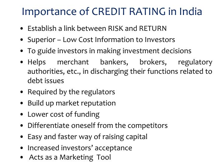 Importance of CREDIT RATING in India