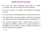 objectives of icra