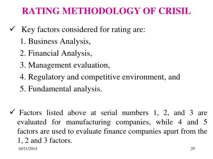 RATING METHODOLOGY OF CRISIL