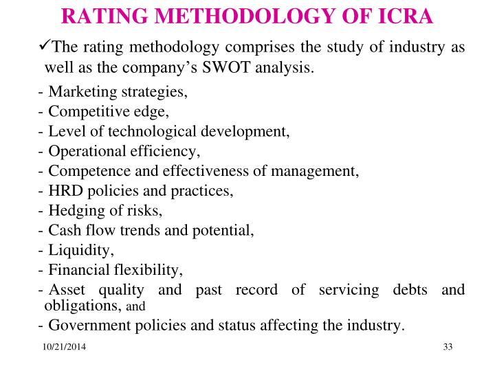 RATING METHODOLOGY OF ICRA