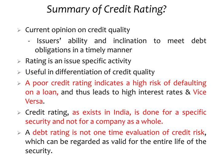 Summary of Credit Rating?
