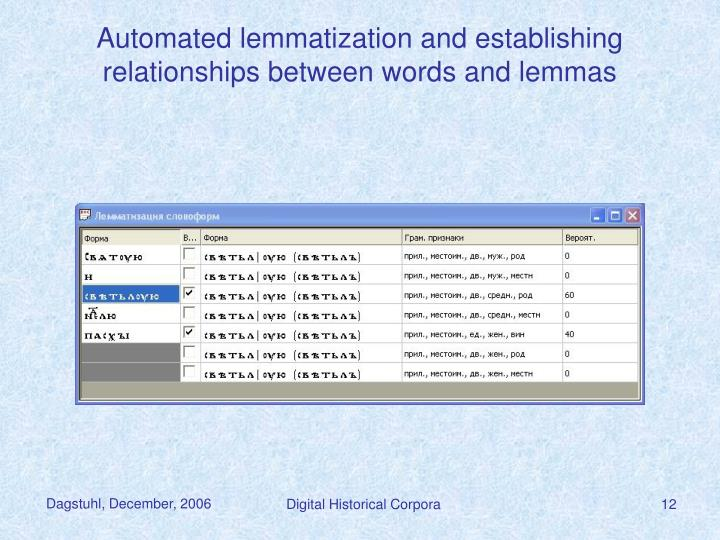 Automated lemmatization and establishing relationships between words and lemmas