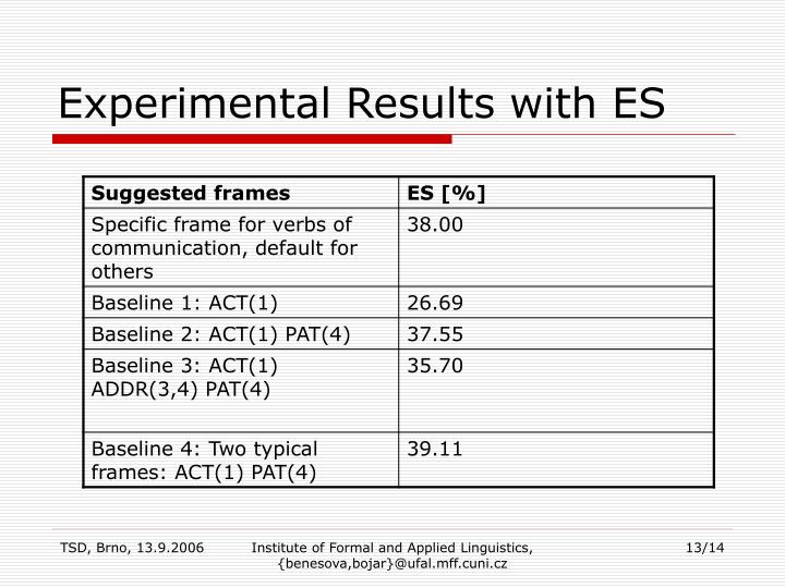 Experimental Results with ES