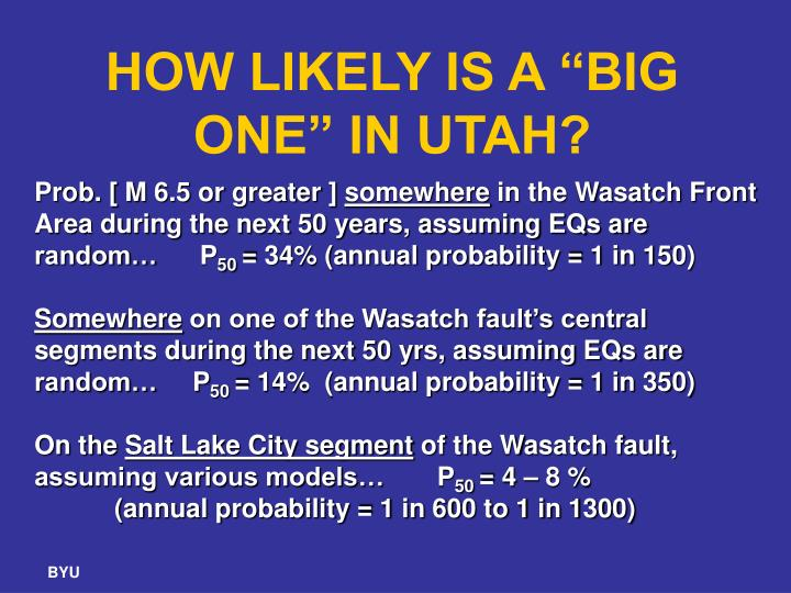 "HOW LIKELY IS A ""BIG ONE"" IN UTAH?"