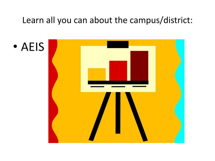 Learn all you can about the campus/district:
