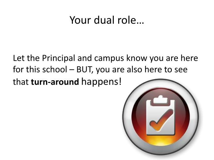 Your dual role…