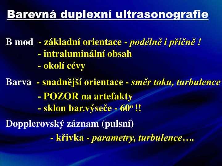 Barevná duplexní ultrasonografie