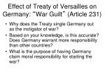 effect of treaty of versailles on germany war guilt article 231