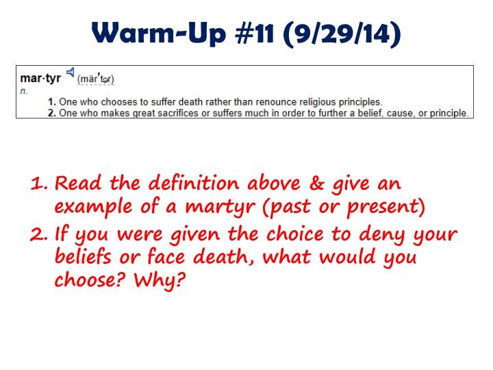 Warm-Up #11 (9/29/14)