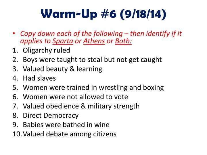 Warm-Up #6 (9/18/14)