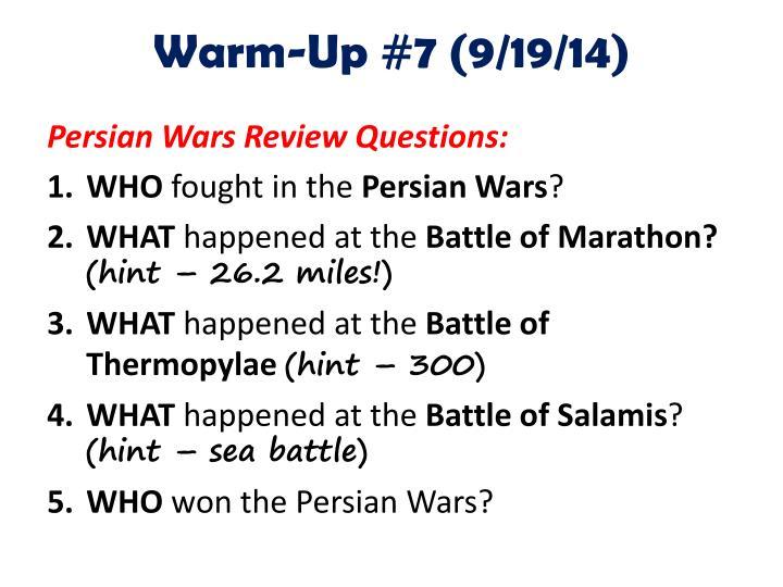 Warm-Up #7 (9/19/14)