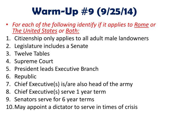 Warm-Up #9 (9/25/14)