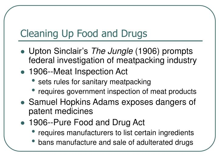Cleaning Up Food and Drugs