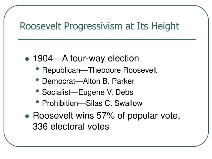 Roosevelt Progressivism at Its Height