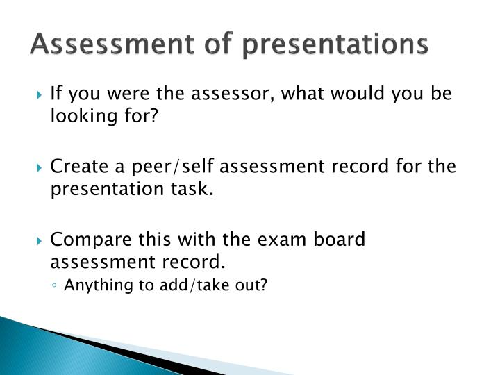 Assessment of presentations